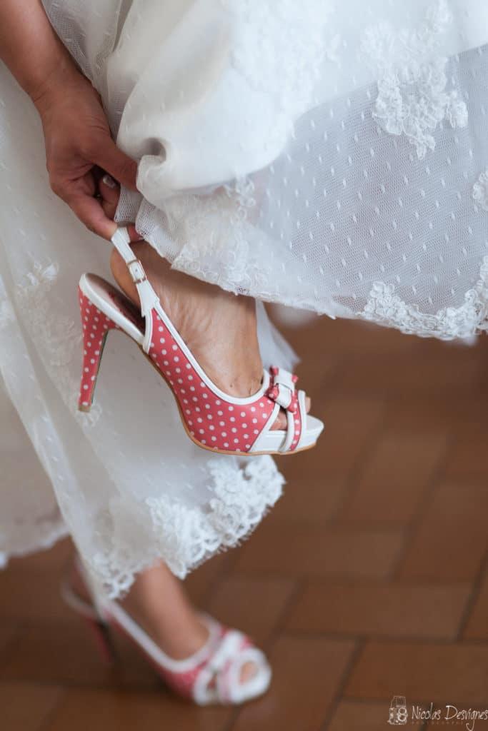 chaussures mariée rouge et blanche